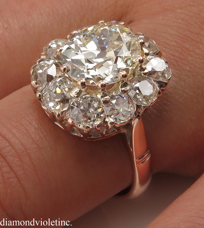 Antique 5 68ct Old Mine Oval Diamond Cluster Engagement 14k Rose