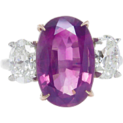 GIA 5.50ct Estate Vintage NO HEAT Pink Sapphire Diamond 3 Stone Engagement Wedding Platinum Ring