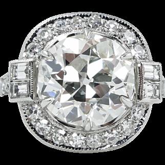 Vintage GIA 5.44ct Old European Diamond Engagement Platinum Ring