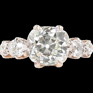 Victorian 5.58ct Old Mine Cushion Diamond 5 Stone Engagement 14k Rose Gold Ring EGL USA