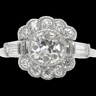 GIA 1.85ct Antique Vintage Art Deco Old European Diamond Engagement Wedding Platinum Ring