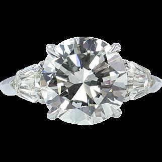 Vintage 4.76ct Round Diamond 3 Stone Engagement Platinum Ring EGL USA