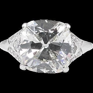 Art Deco 5.05ct Old Mine Cushion Diamond Engagement Platinum Ring EGL USA