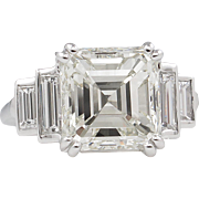 GIA 5.81ct Antique Vintage Art Deco Asscher Diamond Engagement Wedding Platinum Ring