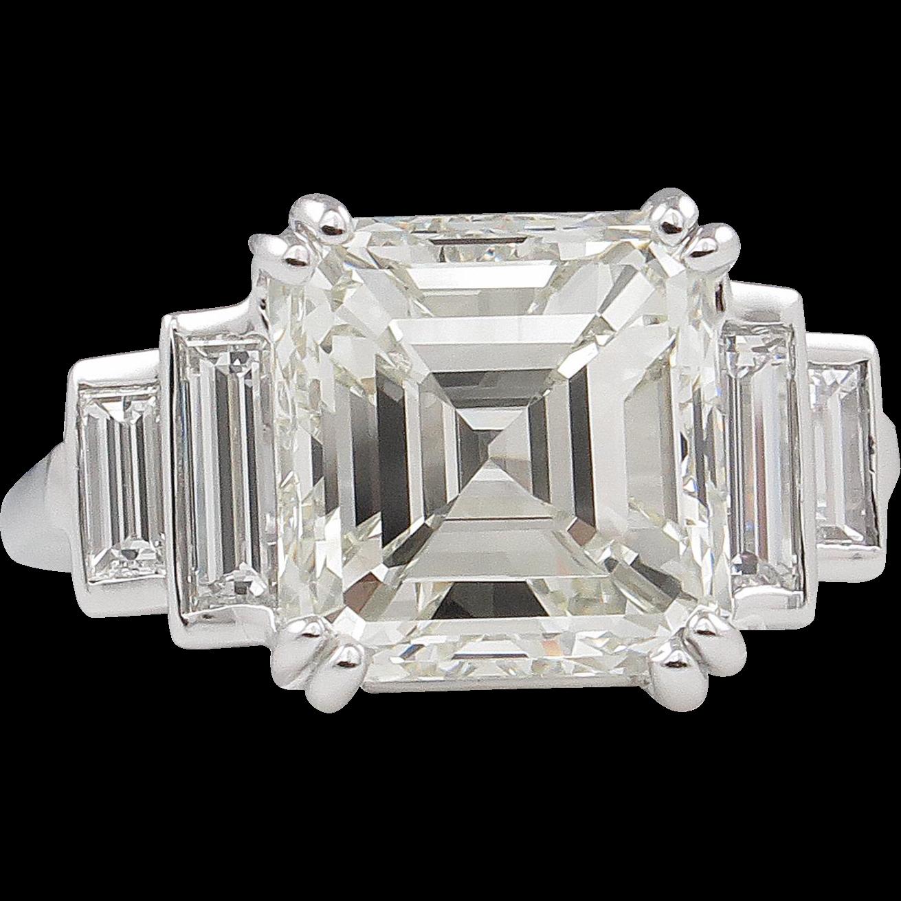 Gia antique vintage art deco asscher diamond for Classic art deco