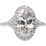 1.75ct Estate Vintage Oval Diamond Engagement Wedding Platinum Halo Ring