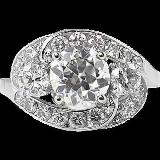 Vintage GIA 2.60ct Old European Diamond Cluster Engagement Platinum Ring
