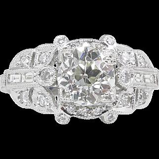Art Deco 1.66ct Old European Diamond Engagement Platinum Ring EGL USA