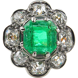 Victorian GIA 3.72ct Colombian Green Emerald Diamond Cluster Engagement 18k Yellow Gold Ring