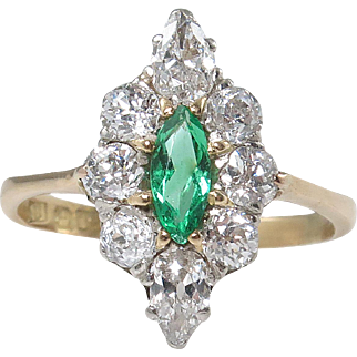 Victorian 1.34ct Green Emerald Diamond Engagement Cluster 18k Yellow Gold Ring EGL USA
