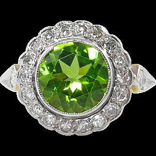2.67ct Antique Vintage Victorian Peridot Diamond Cluster Engagement Wedding 18k Yellow Gold/Platinum Ring