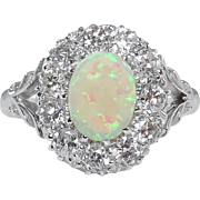Vintage 1.69ct Australian Opal Diamond Cluster Engagement 18k White Gold Ring