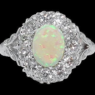 Vintage 1.69ct Australian Opal Diamond Cluster Engagement 18k White Gold Ring