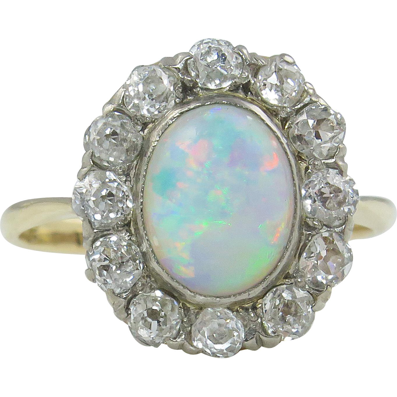 273ct antique vintage australian opal diamond engagement for Australian wedding rings