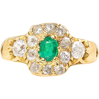 Victorian 1.00ct Green Emerald Diamond Cluster Engagement 18k Yellow Gold Ring EGL USA
