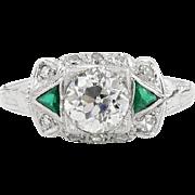 Edwardian GIA 1.00ct Old European Diamond Engagement Ring Platinum