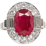 Vintage GIA 3.75 BURMA No Heat Dark Red Ruby Diamond Engagement Cluster Platinum Ring