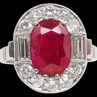 Vintage GIA 3.75 No Heat Dark Red Ruby Diamond Engagement Cluster Platinum Ring