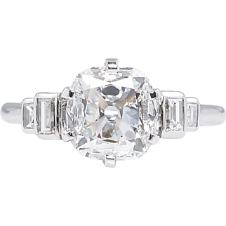 Art Deco GIA 1.60ct Old Mine Cushion Diamond Engagement Platinum Ring