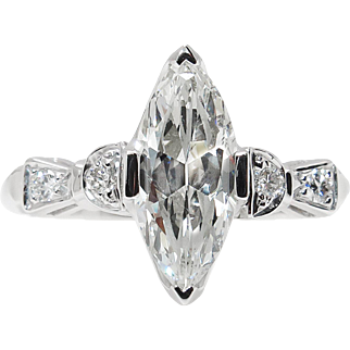 GIA 1.42ct Antique Vintage Art Deco Old Marquise Diamond Engagement Wedding Platinum Ring