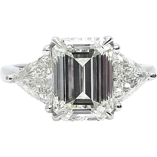 Vintage 3.45ct Emerald cut Diamond Three Stone Engagement Platinum Ring EGL USA