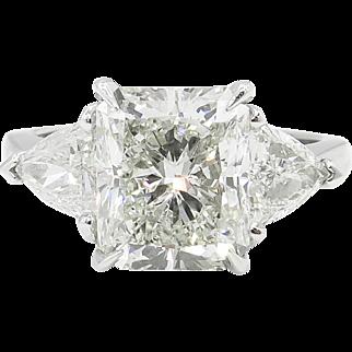 Vintage 4.12ct Radiant Diamond 3 Stone Engagement Platinum Ring EGL USA