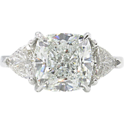 Vintage GIA 4.85ct Cushion Diamond Three Stone Engagement Platinum Ring