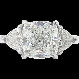 Vintage GIA 4.85ct Cushion Diamond Three Stone Engagement Platinum Ring