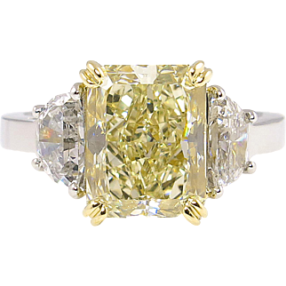 GIA 3.87ct Estate Vintage Fancy Yellow Radiant Diamond Three Stone Engagement Wedding Platinum/18k Yellow Gold Ring