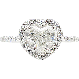 GIA 1.50ct Estate Vintage Heart Diamond Engagement Wedding 18k White Gold Ring