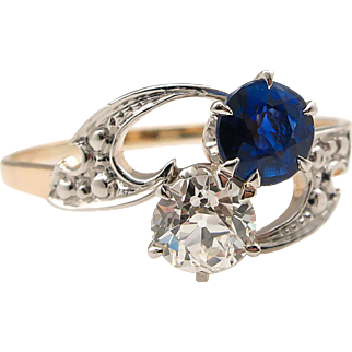 0.80ct Antique Vintage Victorian Old European Diamond Sapphire Crossover Engagement Wedding 14k Yellow Gold Ring