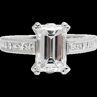 Vintage GIA 3.80ct Emerald Diamond Engagement Wedding Platinum Ring Set