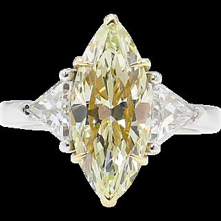 3.50ct Estate Vintage Fancy Yellow Marquise Diamond 3 Stone Engagement Wedding Platinum Ring EGL USA