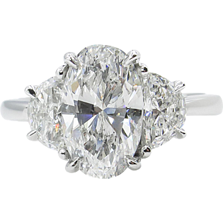 AGS 2.44ct Vintage Oval Diamond Three-stone Engagement Platinum Ring
