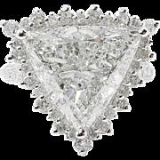 Vintage 7.10ct Trillion Diamond Engagement Halo Ring 14k White Gold EGL USA