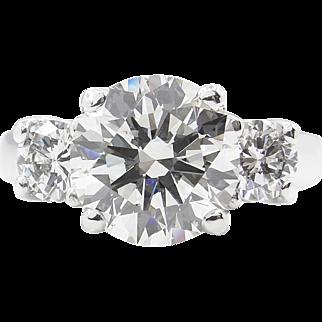 Vintage 3.75ct Round Diamond 3 Stone Engagement Platinum Ring EGL USA
