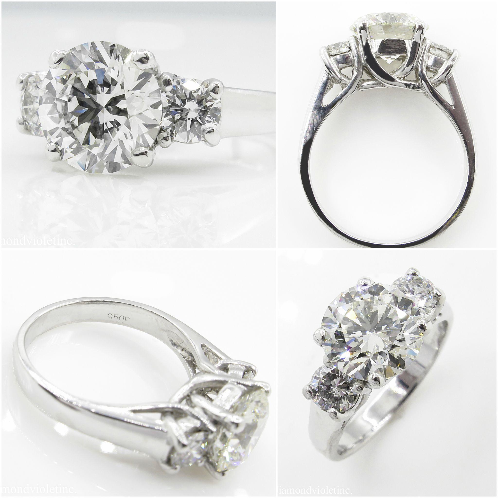 Vintage 3 75ct Round Diamond 3 Stone Engagement Platinum Ring EGL