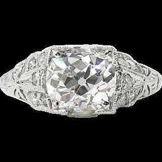 Edwardian GIA 2.15ct Old Mine Cushion Diamond Engagement Platinum Ring