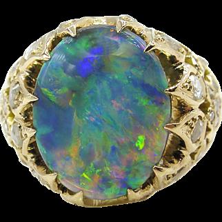 Victorian 3.30ct Australian Black Opal Diamond Engagement 18k Yellow Gold Ring