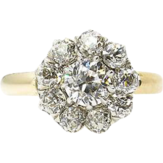 Victorian GIA 1.71ct Old Euro Diamond Cluster Engagement 18k Yellow Gold Ring