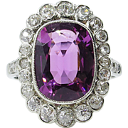 Vintage GAL 5.80ct Art Deco Tourmaline Diamond Cluster Engagement 18k White Gold Ring