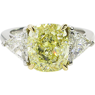 Vintage GIA 4.40ct Fancy Yellow Cushion 3 Stone Engagement Platinum/ 18k Yellow Gold Ring
