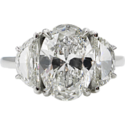 Vintage GIA 3.64ct Oval Diamond 3 Stone Engagement Platinum Ring