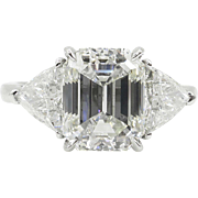 Vintage 4.36ct Emerald cut Diamond 3 Stone Engagement Platinum Ring EGL USA