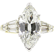 Vintage 5.20ct Marquise Diamond Engagement Platinum/18k Yellow Gold Ring EGL USA