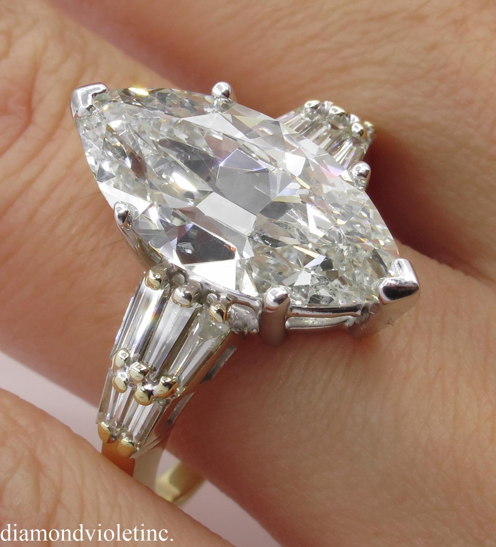 Vintage 5 20ct Marquise Diamond Engagement Platinum 18k Yellow