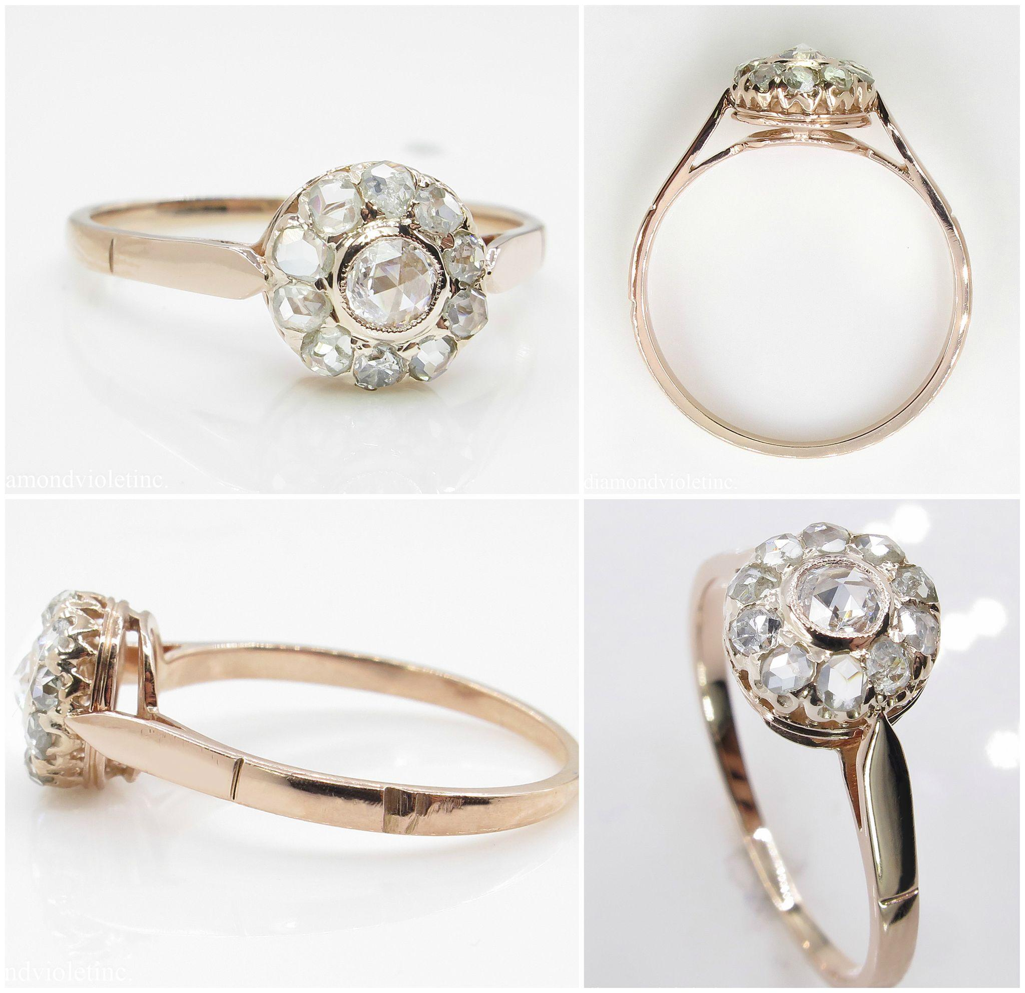 Antique Rose cut Diamond Cluster Engagement 18k Rose Gold Ring