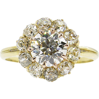 Vintage GIA 2.01ct Round Diamond Cluster Engagement 18k Yellow Gold Ring