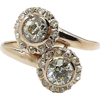 Vintage 1.43ct Old European Diamond Bypass Crossover Engagement 18k Rose Gold Ring