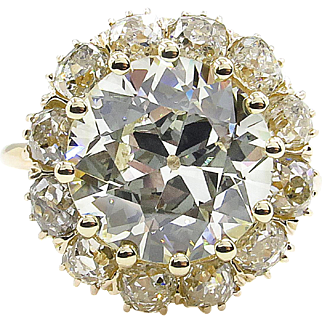 5.74ct Antique Vintage Victorian Old European Diamond Cluster Engagement Wedding 14k Yellow Gold Ring